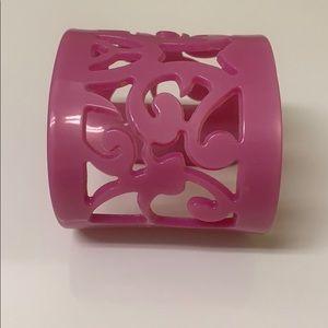 Pink plastic cuff bracelet